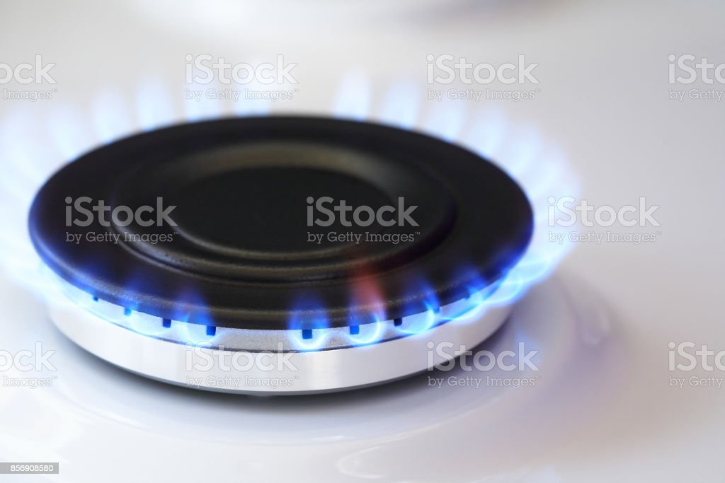 Gas Burner With Fire stock photo