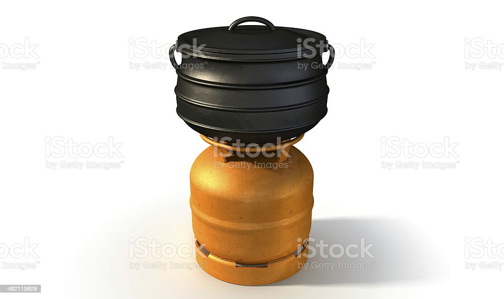 Gas Burner With Potjie Pot stock photo