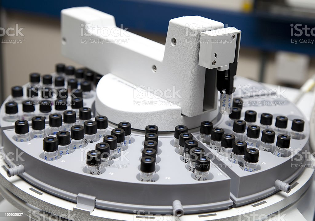 Gas Chromatograph Autosampler in Operation stock photo