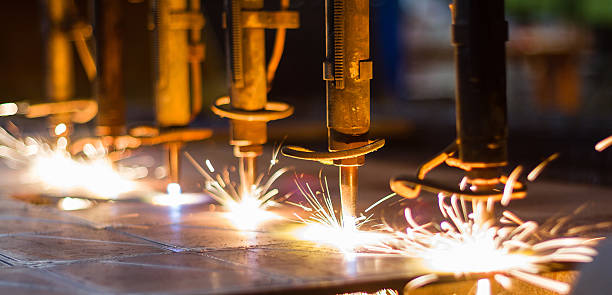 CNC LPG gas cutting close-up stock photo