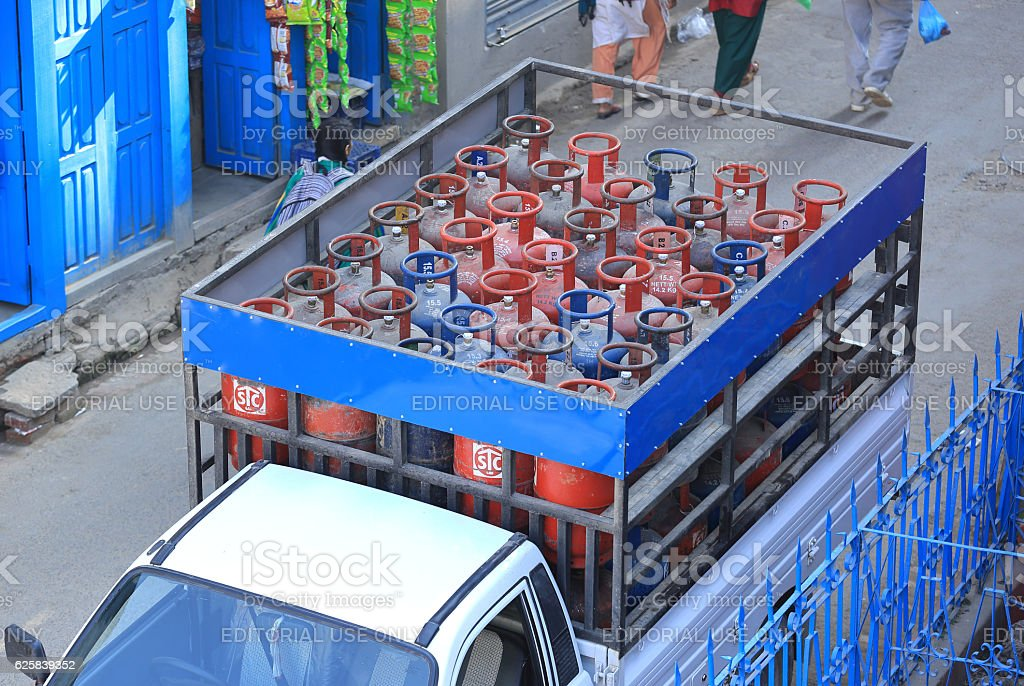 gas cylinder delievery stock photo