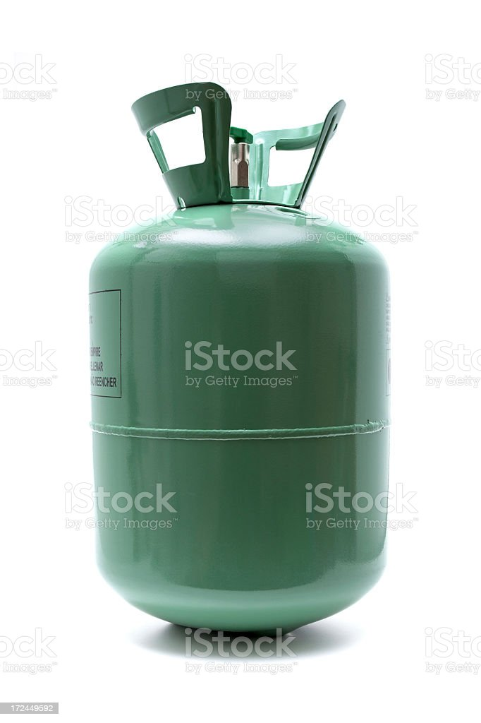 Gas cylinder isolated on white background stock photo