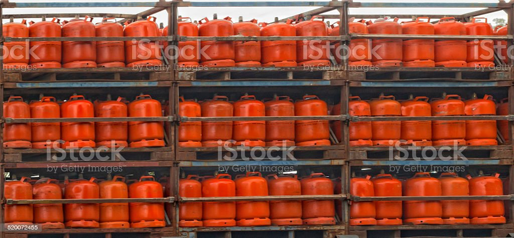 Gas cylinders assorted on a truck stock photo