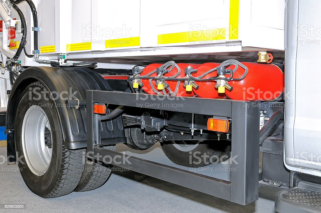 LPG gas cylinders in the truck stock photo