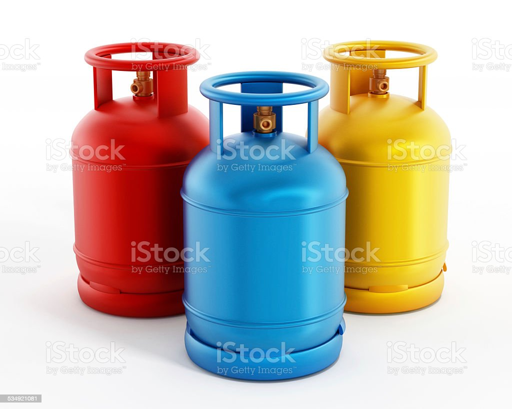 Gas cylinders stock photo