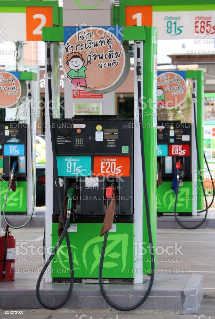 Gas dispenser of Bangchak gas station. (Gasohol 91 : Gasoline 90%, Ethanol 10%)( E20 : Gasoline 80%, Ethanol 20%) stock photo