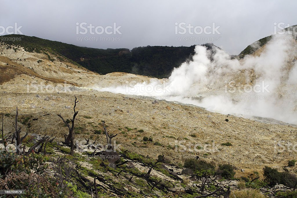 Gas emissions at Papandayan Volcano stock photo