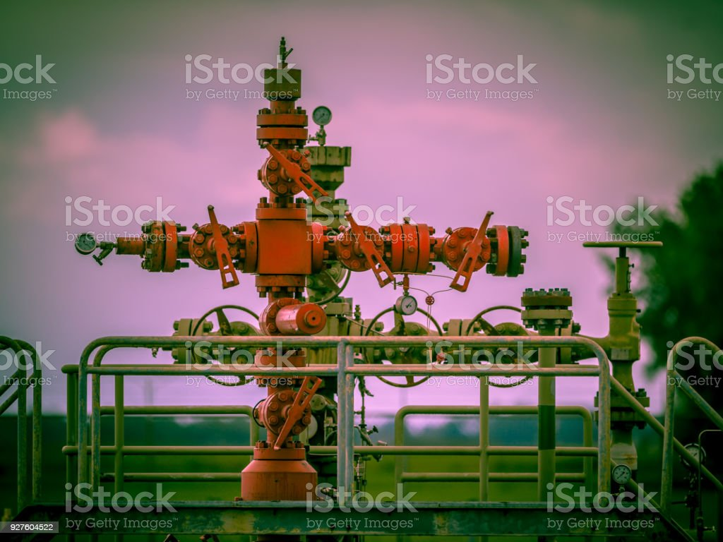 Gas field well head vintage style stock photo