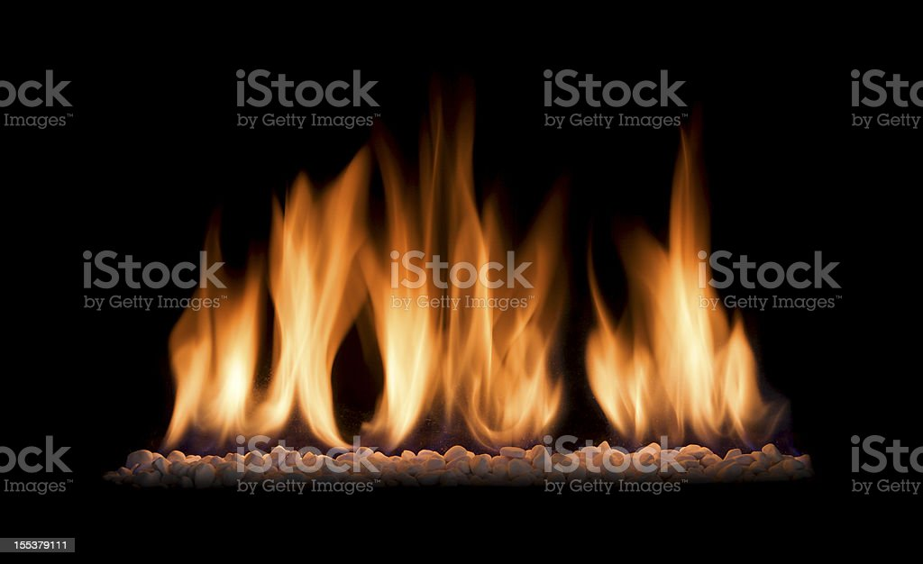 gas fire flames isolated on black stock photo
