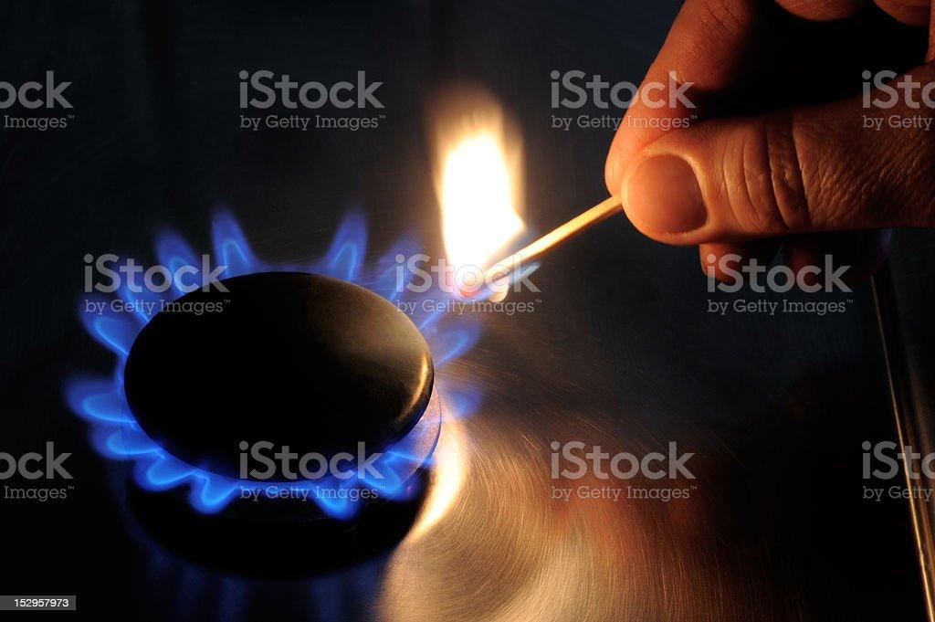 gas fire stock photo