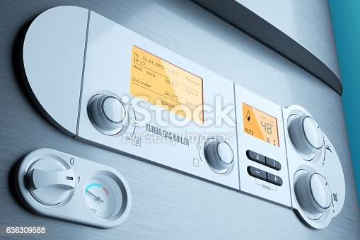 istock Gas fired boiler control panel closeup. Household appliance 636309588