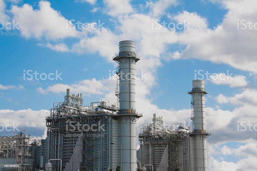 Gas fired turbine power plant stock photo