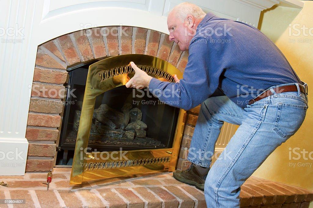 Gas Fireplace Installation stock photo