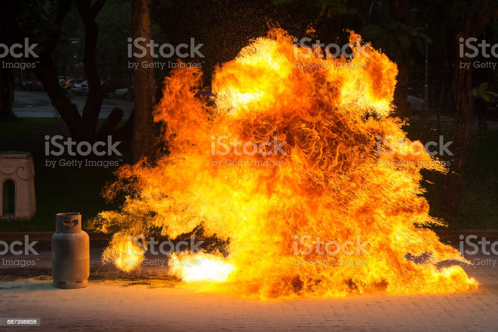 Gas Flame and Explosive from Gas Tank stock photo