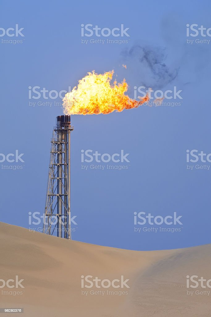 Gas Flaring In The Desert royalty-free stock photo
