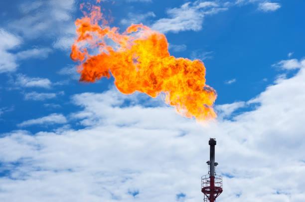 Gas flaring. stock photo
