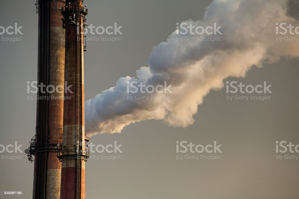 Gas from chimney stock photo