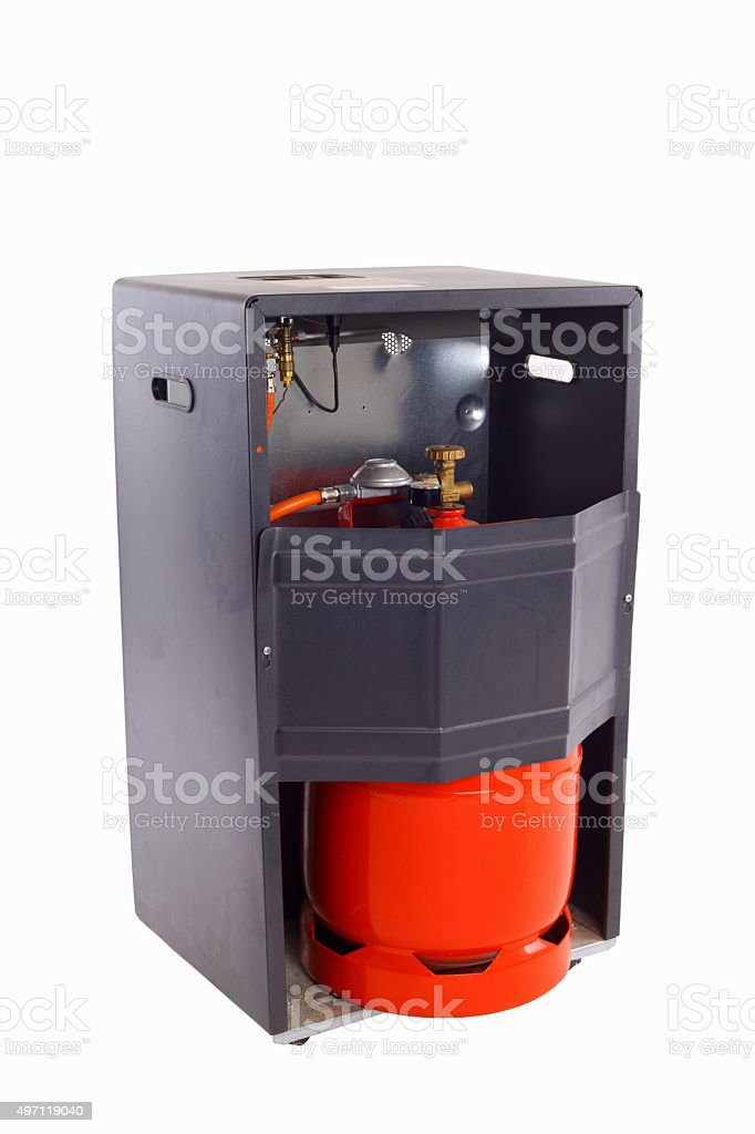 Gas furnace cutout stock photo