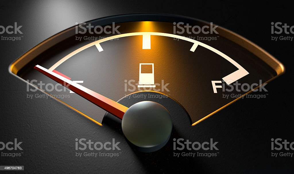 Gas Gage Illuminated Empty stock photo