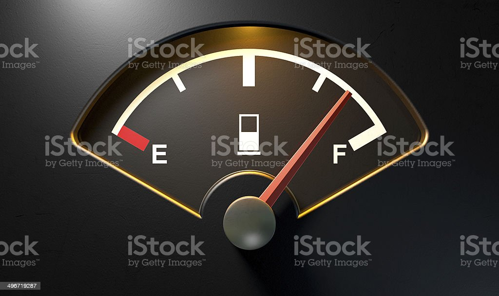 Gas Gage Illuminated Full stock photo