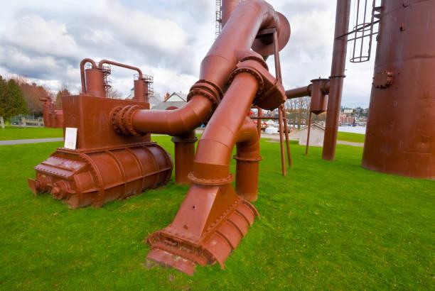 Gas Generating Equipment at Gasworks Park stock photo