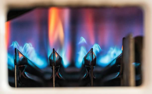Gas heating boiler flames stock photo