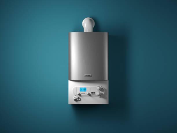 Gas-Hauskessel mit elektronischem Bedienfeld an der Hauswand. – Foto