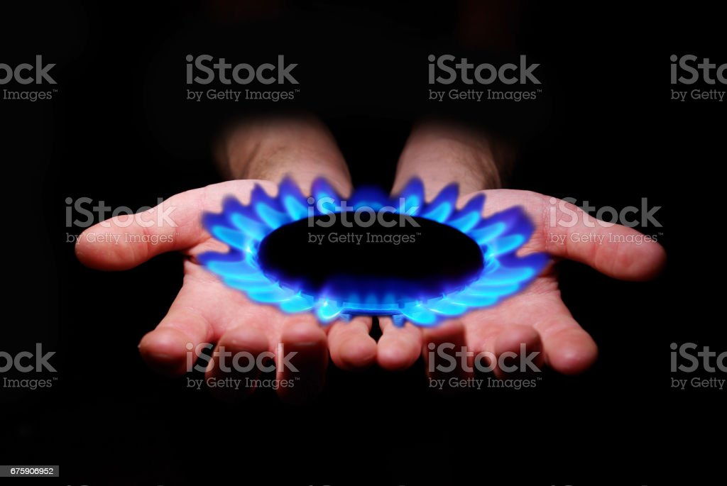 gas in hands stock photo