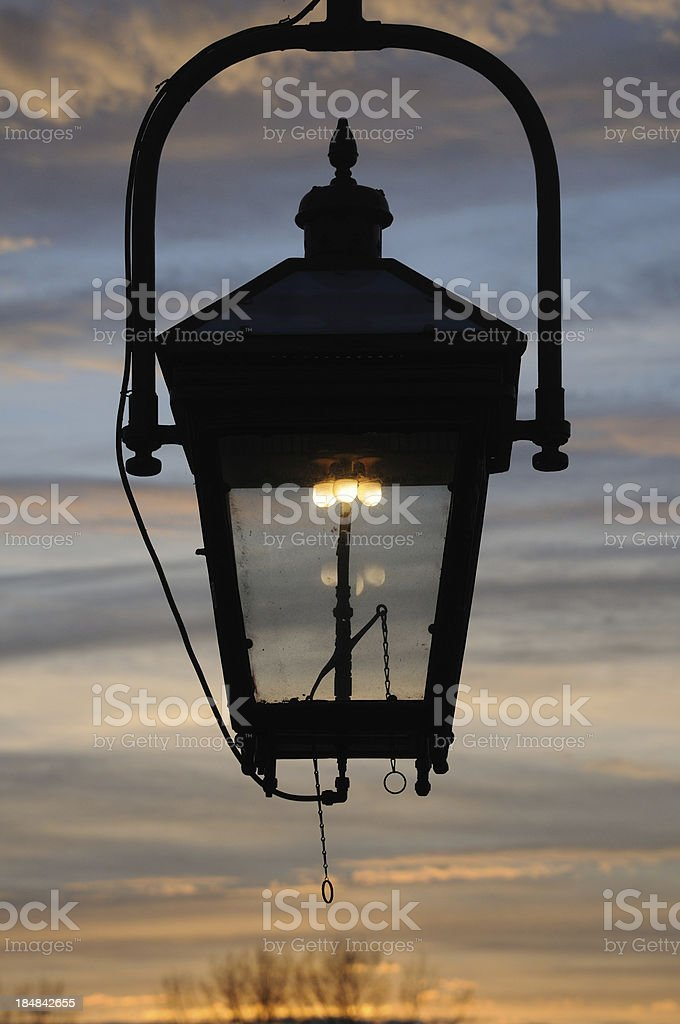 Gas Lamp at Sunset stock photo