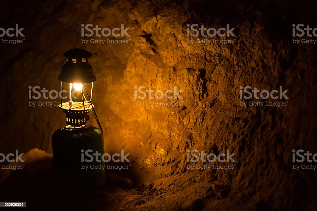 gas lamp in the darkness stock photo