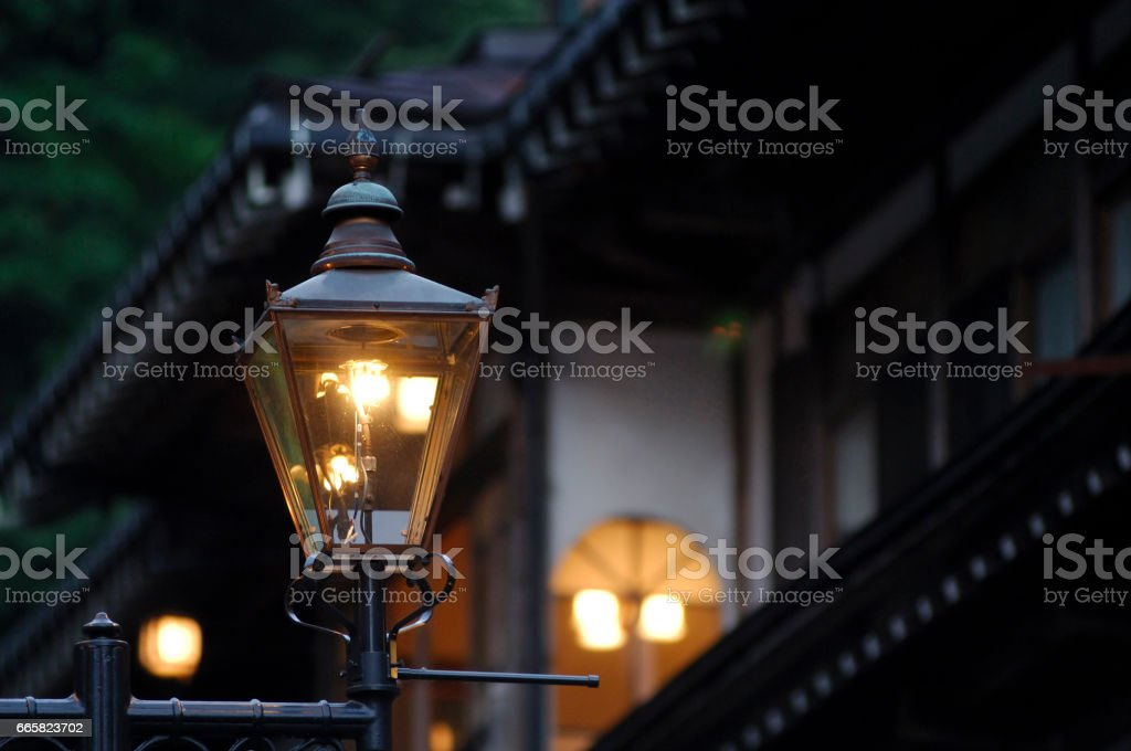 Gas lamps stock photo