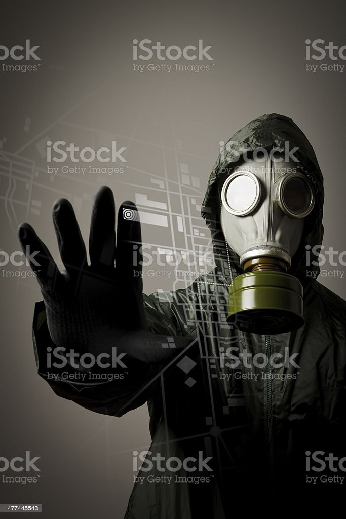 Gas mask and map. Evacuation. stock photo