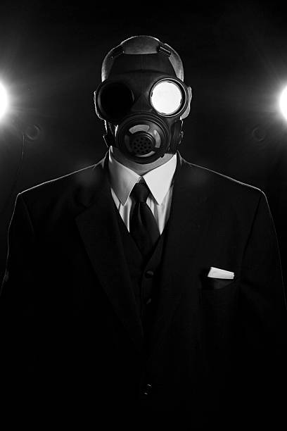 Gas Mask and Neck Tie stock photo