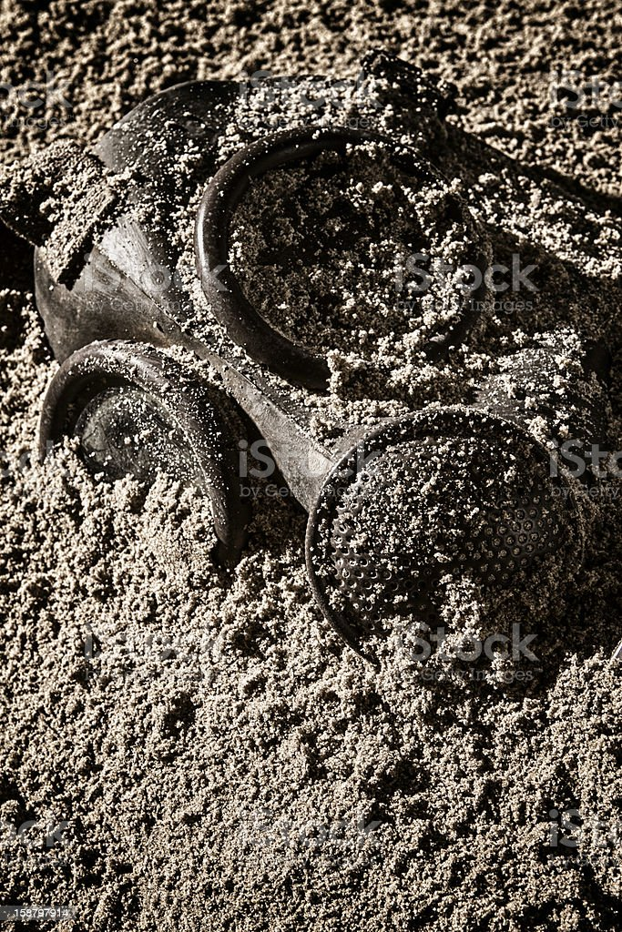 gas mask and sand royalty-free stock photo