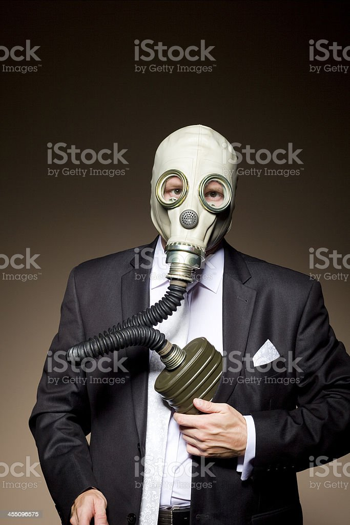 gas mask and suit stock photo
