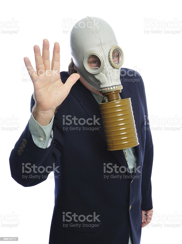 gas mask business man royalty-free stock photo