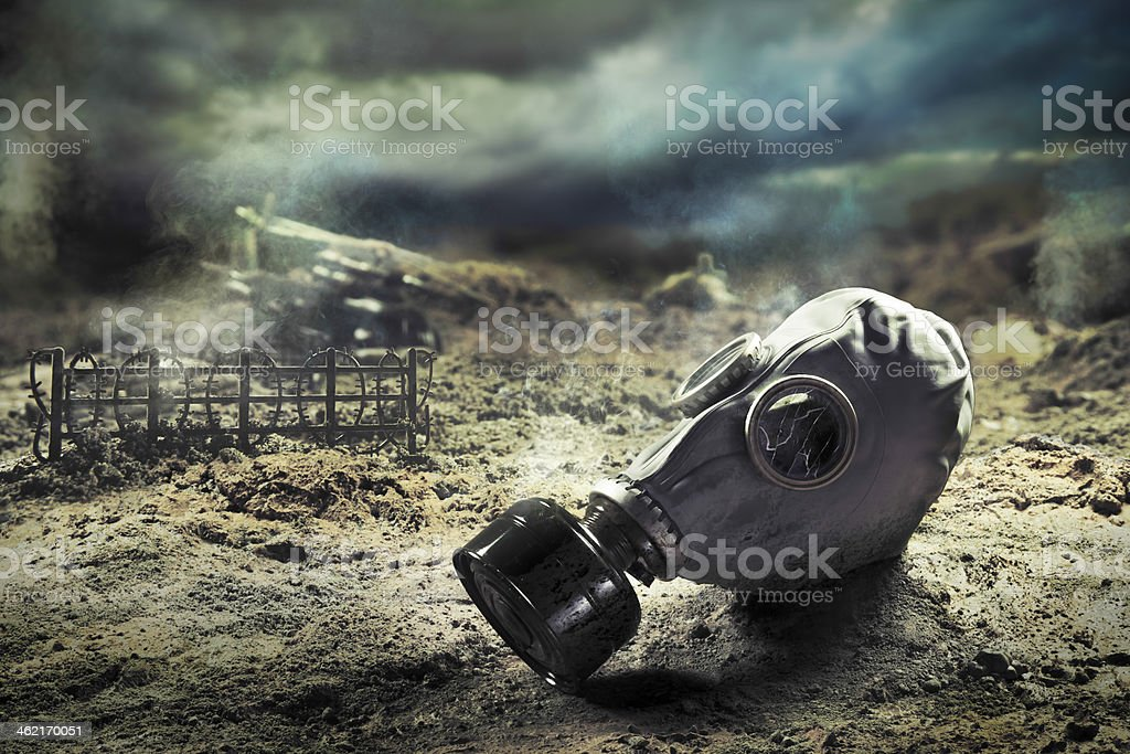 Gas mask in quemical war royalty-free stock photo
