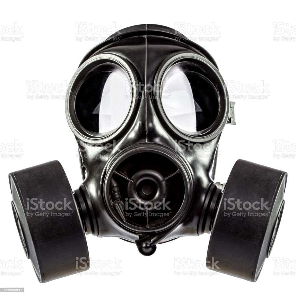 gas mask on white stock photo
