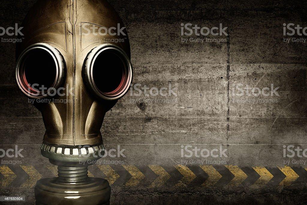 Gas mask shrouded in smoke stock photo
