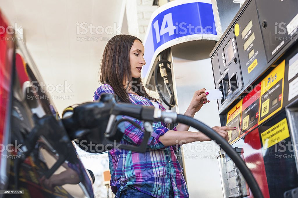 Gas nozzle in the car tank stock photo