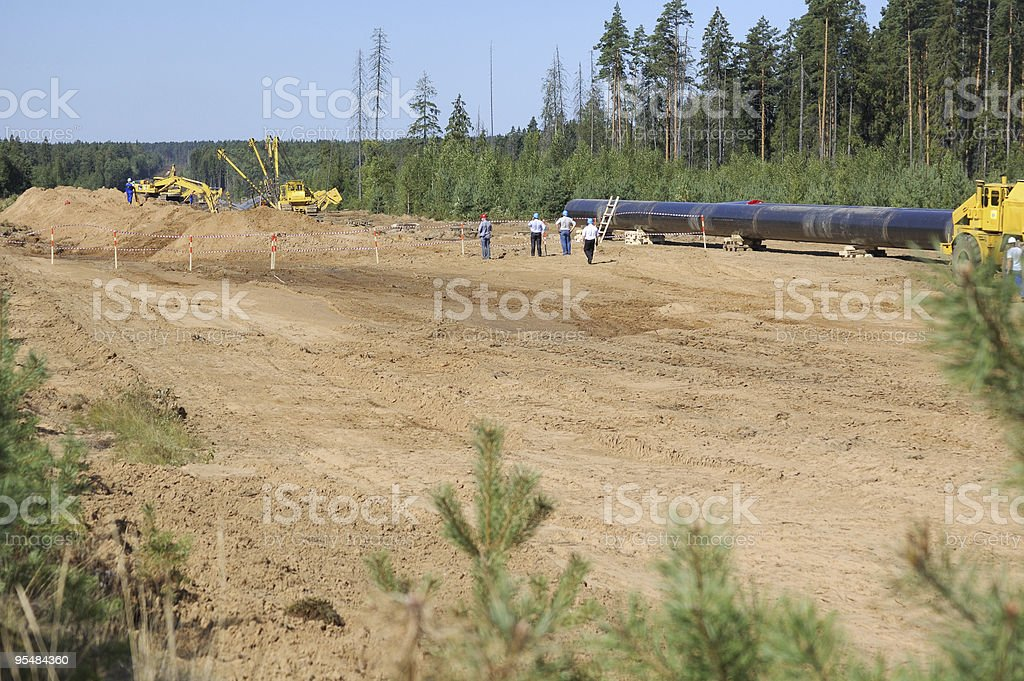 Gas pipeline, construction site royalty-free stock photo