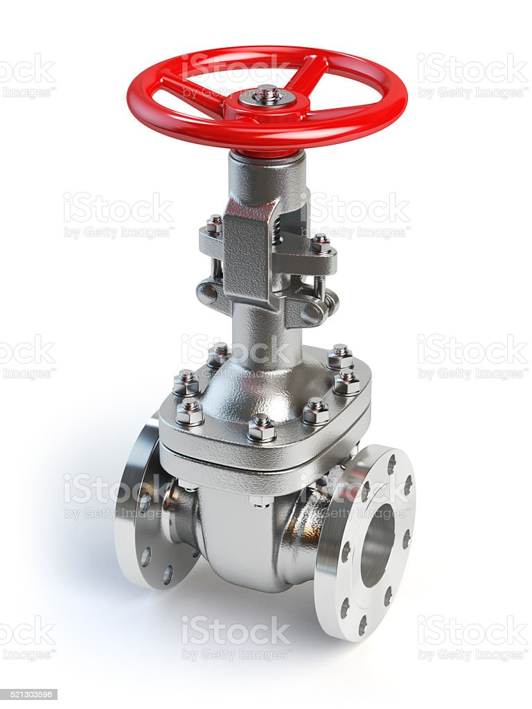 Gas pipeline valve isolated on white stock photo
