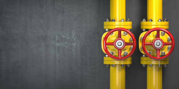 Gas pipeline valve on a wall. Space for text. Gas pressure control. Gas pipeline valve on a wall. Space for text. Gas pressure control. 3d illustration man made structure stock pictures, royalty-free photos & images