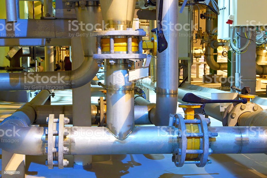 Gas pipeline.Chemical factory stock photo