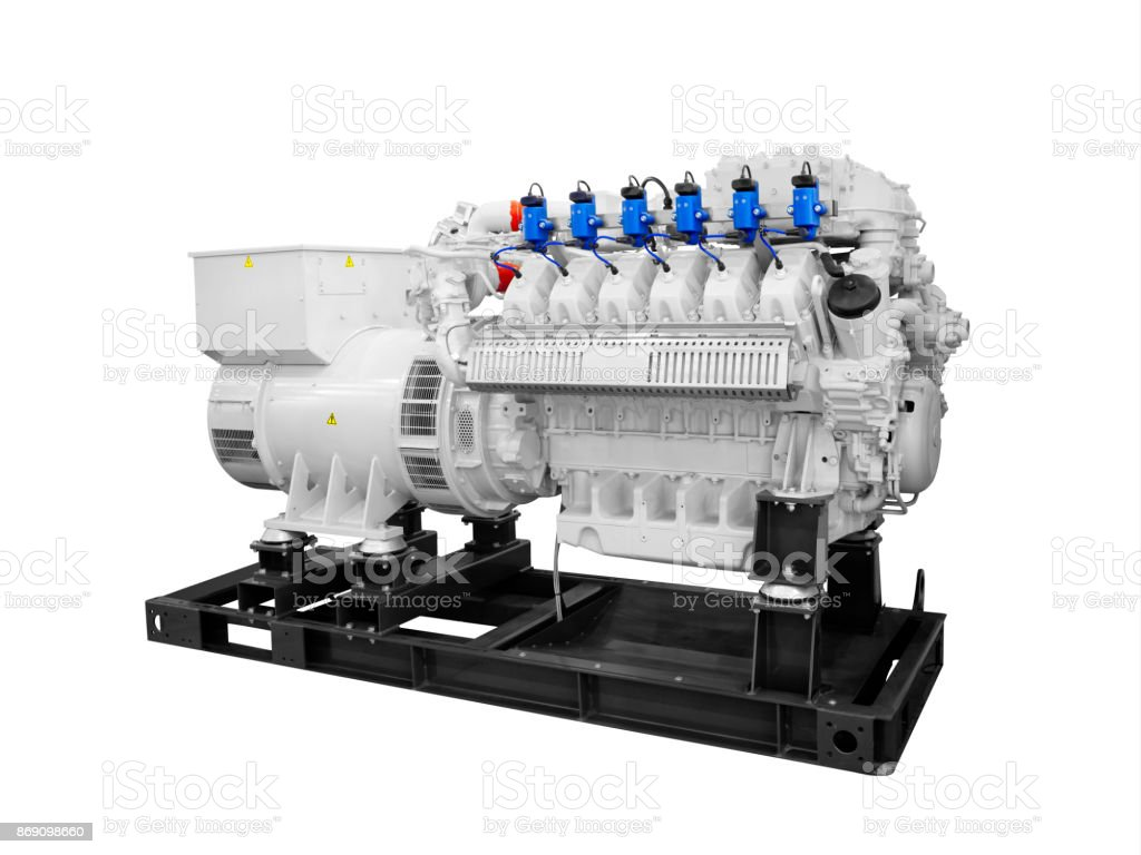 Gas piston diesel electric generator isolated on white background stock photo