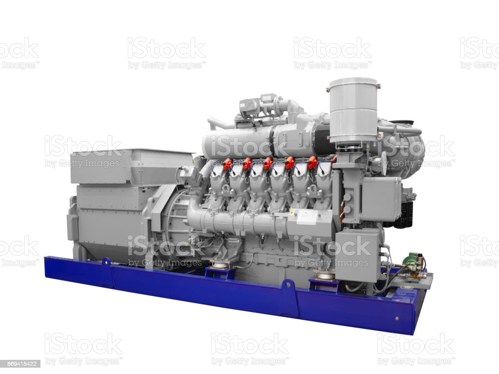 Gas piston diesel electric generator solated on white background stock photo