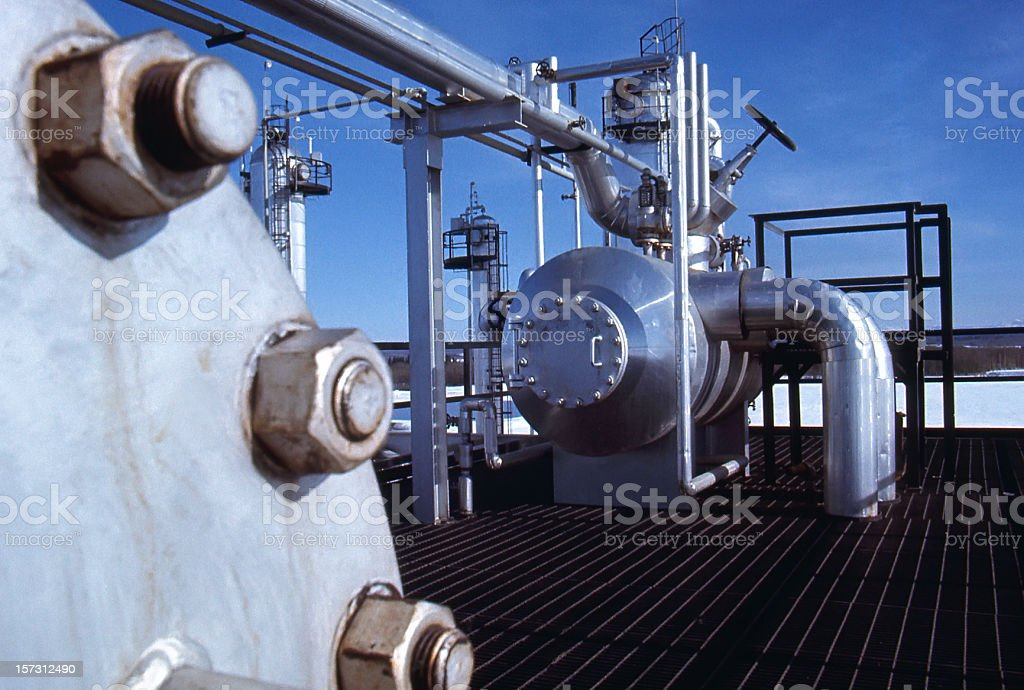 Gas Plant Pressure Vessel royalty-free stock photo
