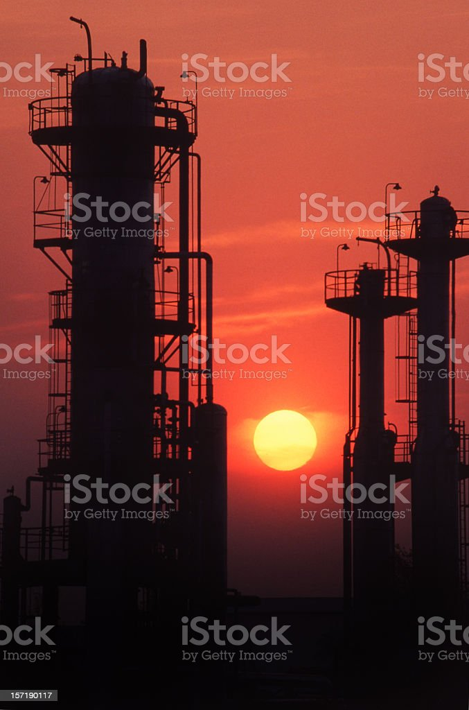 Gas Plant with Sunset royalty-free stock photo