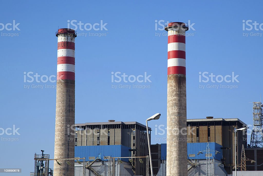 Gas Power Station with two Cooling Towers stock photo