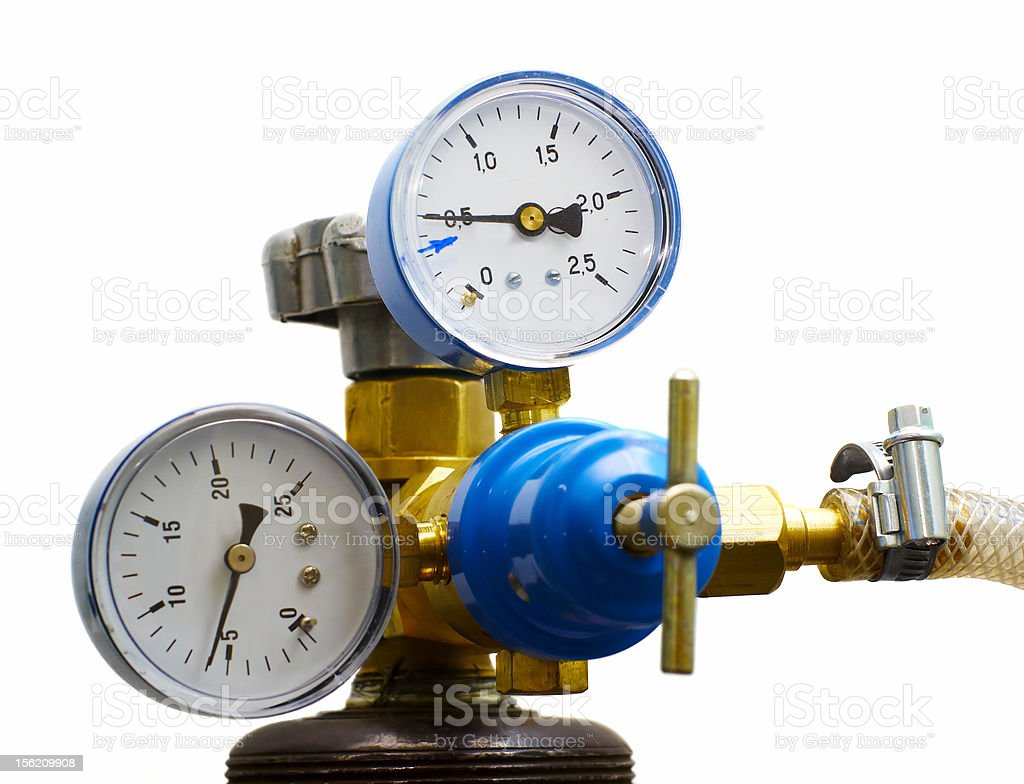 gas pressure meters isolated stock photo